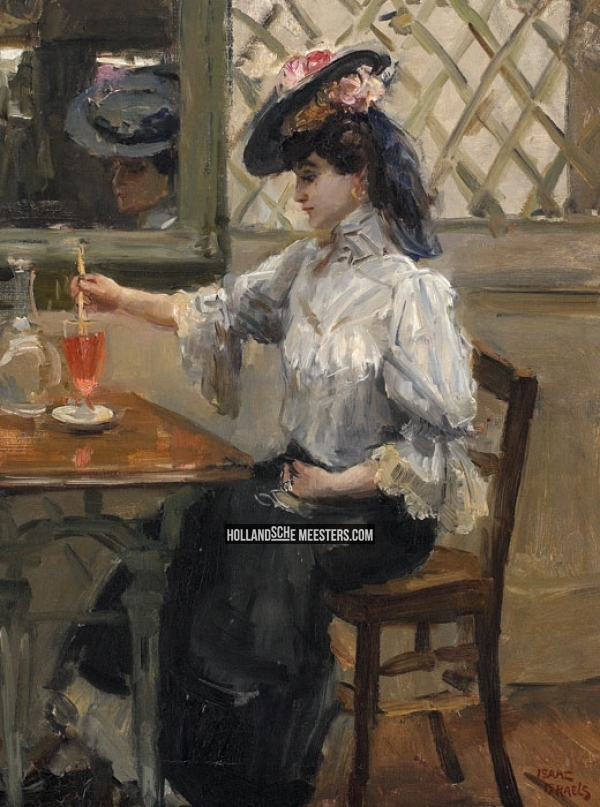 In het cafe - Jeune fille sa refraichissant | Isaac Israels
